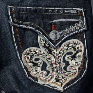 Laguna Beach Jeans Mens REDONDO BEACH White stitch 1G AB Crystals