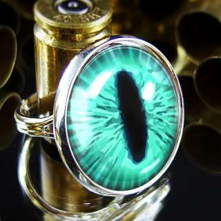 Teal Green Cat Eye Fantasy Taxidermy Halloween Silver Adjustable Ring