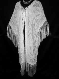 Silk Burnout Velvet Fringe Jacket Kimono IVORY NEW PLUS