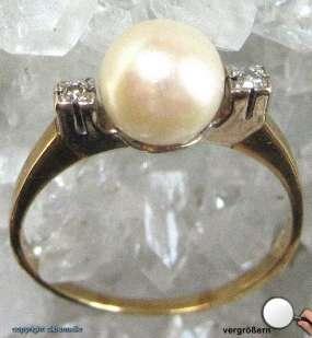 Perlenring Gold Ring Perlen Perle Ringe Damen Perlring Weiss