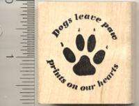Dogs leave paw prints on hearts Rubber Stamp D811 WM