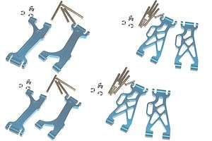 LOSI MINI LST LST2 GPM A ARM SET ALL 8 BLUE ALUMINUM