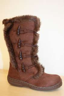 New Kids Girls Tall Flat Fur Suede Boots Shoes Size 11