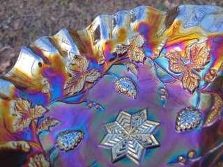 Antique MILLERSBURG GRAPE WREATH VARIANT Carnival Glass Bowl AMETHYST