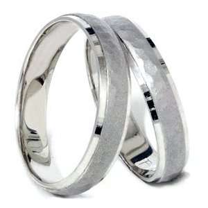 Pompeii3 Inc. Matching Hammered Wedding Ring Band White Gold Set 14K