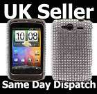 SILVER SPARKLE DIAMANTE GEM LEATHER FLIP CASE COVER HTC WILDFIRE S
