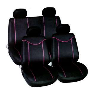 10PC BLACK & PINK CAR SEAT COVERS RACING STYLE COVER SET   AIRBAG