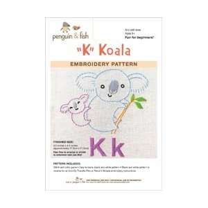 Penguin and Fish Embroidery Patterns Koala; 3 Items/Order