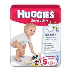 HUGGIES DIAPERS BABY SNUG & DRY SIZE 5 27 COUNT JUMBO PACK