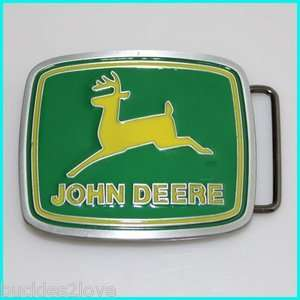 JOHN DEERE Logo Belt Buckle tractor deer yellow green
