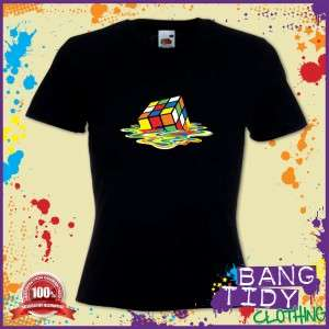melted rubix cube Big bang Theory Atom Sheldon Cooper Womans T shirt
