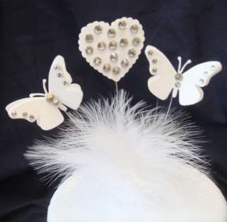 diamante butterfly / heart birthday celebration/cake topper decoration