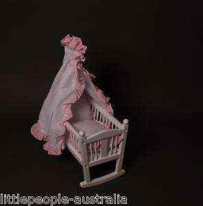 Dolls Bed Baby Cradle Wooden Pink Girls Toy New Born Keepsake Gift Sm
