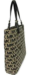 Michael Kors MK Logo Jacquard Beige Black Brown Shopper Tote HandBag