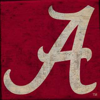 Alabama Crimson Tide   Logo   18x18 Plank Wood Sign