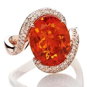 Jewelry with Carol Brodie 4.72ct Fire Opal and Diamond 14K Rose Gold