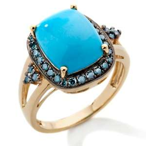 Sleeping Beauty Turquoise and Blue Diamond Vermeil Ring
