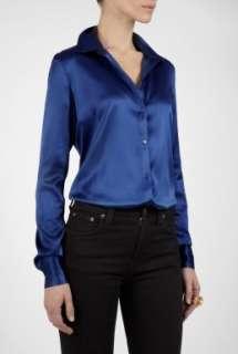Joseph  Blue Stacy Long Sleeve Silk Blouse by Joseph