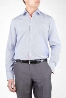 Hugo Boss Black  Blue Fine Stripe Red Placket Shirt by Hugo Boss