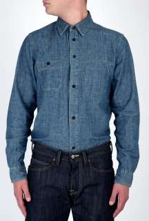 Edwin  Blue Chambray Work Pocket Shirt by Edwin