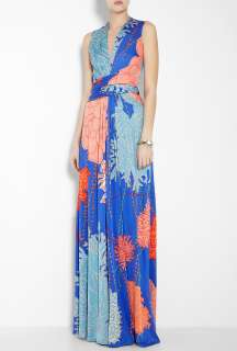 Issa  False Wrap Printed Silk Jersey Maxi Dress by Issa