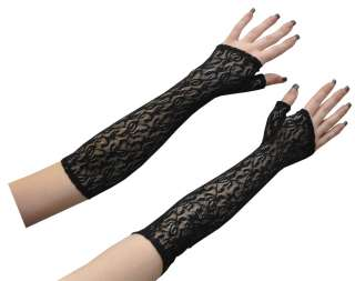 Black Lace Fingerless Elbow Length Gloves   Gothic Costume Accessories