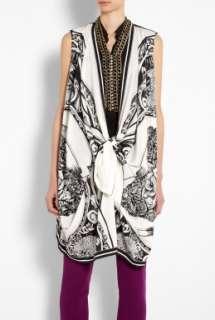 DKNY  Ivory/Black Sleeveless Scarf Cozy Blouse by DKNY
