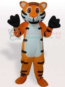 Mascot Costume  White Belly Tiger with Black Stripes Adult Mascot