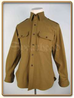 WW2 US Army Officer/NCO Mustard Wool Shirt S