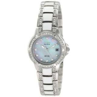 58D Ladies Normandie White Eco Drive Swarovski Crystals Watch