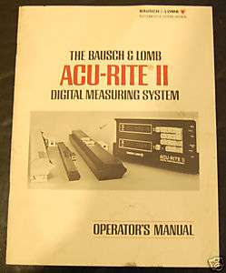 ACU RITE II Digital Readout DRO Operators Manual
