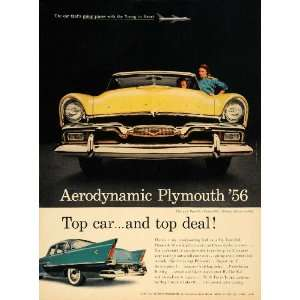 1956 Ad Yellow Plymouth Belvedere Convertible Auto