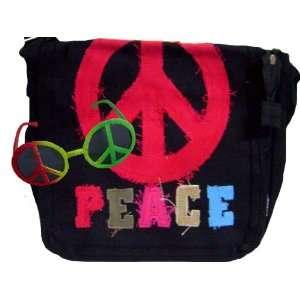 Casual Black Messenger Bag Peace Sign Bonus Sunglasses Toys & Games