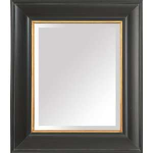 Distressed Black and Gold Framed Mirror
