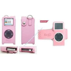Apple Ipod Nano + Pink Leather Case for Apple Ipod Nano  Players