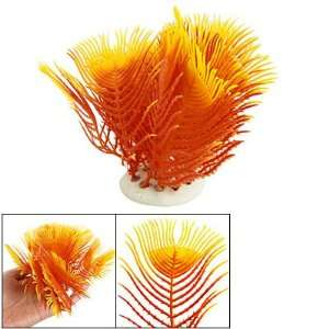 Como Aquarium Fish Tank Orange Plastic Plant w Ceramic Base: