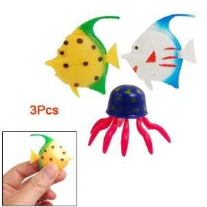 Aquarium Ornament 3 Pcs Colorful Plastic Tropical Fish