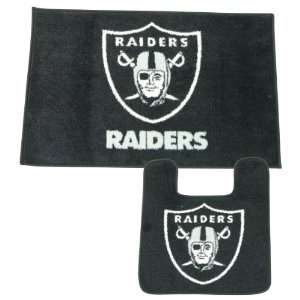 Raiders Bath Mat Set (Shower Rug, Toilet Bowl Rug) Sports & Outdoors