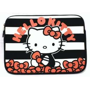 Hello Kitty Black and White Stripe Neoprene Laptop Case 14
