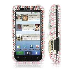 CLEAR HEARTS CRYSTAL BLING CASE COVER FOR MOTOROLA DEFY Electronics