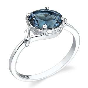 Finish 2.25 cts Oval Cut London Blue Topaz Ring Size 8 Peora Jewelry