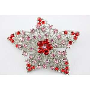Red Swarovski Crystal Star Brooch Pin