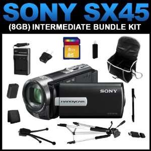 com Sony DCR SX45 Handycam Camcorder (Black) (8GB Intermediate Bundle