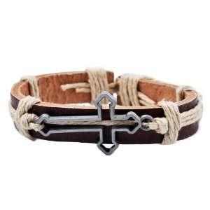 Leather Light Brown Hemp Metal Cross Handmade Leather Bracelet #5