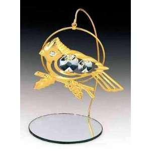 Cardinal 24k Gold Plated Crystal Ornament Mirror Stand