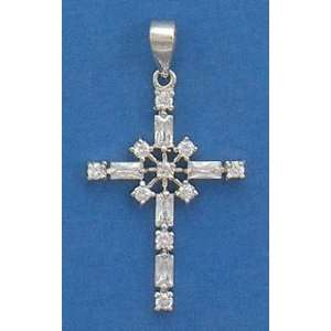 Cubic Zirconia CZ Rhodium Plated Sterling Silver Pendant