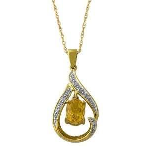10k Yellow Gold Diamond Accent Citrine Necklace Jewelry