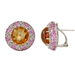 Citrine, Pink Sapphire, and Diamond Earring in 14k Yellow Gold (TCW 15