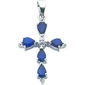 14K White Gold Diamond & Sapphire Cross Pendant Jewelry