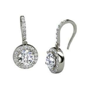 Gem Drop Earrings, Round Diamond 14K White Gold Earrings Jewelry